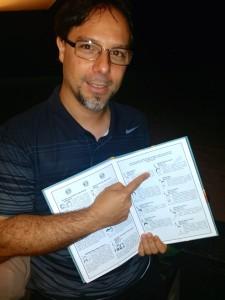 Sergio Lerner with BitcoinComic during laBitConf